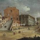 Bernardo Canal (1673-1744) e Canaletto (1697-1768), Santa Maria d'Aracoeli e il Campidoglio, Roma, 1720 circa, Olio su tela, 200 x 146.5 cm, Budapest, Szépmúvészeti Múzeum / Museum of Fine Arts | © 2018 Szépmvészeti Múzeum - Museum of Fine Arts Budapest