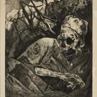 Otto Dix, Cadavere sul filo spinato, Fiandre 1924. Acquaforte, cm 30 x 24,3.