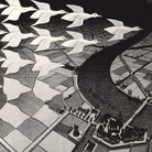 Maurits Cornelis Escher, Giorno e notte, Febbraio 1938, Xilografia, 67.7 x 39.1 cm, Collezione privata, Italia | All M.C. Escher works © 2019 The M.C. Escher Company | All rights reserved www.mcescher.com