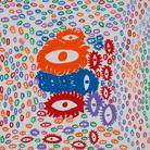 Yayoi Kusama, I LOVE-EYES, 2013, Acrilico su tela, 194 × 194cm | © YAYOI KUSAMA