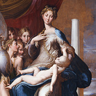 Parmigianino, Madonna dal collo lungo (Madonna col Bambino, angeli e un profeta), 1534-1540. Olio su tavola, cm 216×132. Galleria degli Uffizi, Firenze