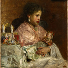Antonio Mancini, Due bambole, olio su tela, 77 x 64 cm