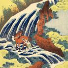 Katsushika Hokusai, La cascata di Yoshino nella provincia di Yamato dove Yoshitsune lavò il suo cavallo, Dalla serie Viaggio tra le cascate giapponesi, 1832-1833 circa, Silografia policroma, 37.9 x 25.9 cm, Honolulu Museum of Art | Courtesy of Palazzo Reale, Milano 2016