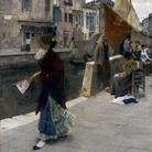 Ettore Tito, La fa la modella, olio su tela, 95 x 67 cm