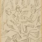 Fernard Leger, Le Joueurs de cartes, 1915. Matita su carta, cm 21,3 x 14,6.