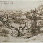 Leonardo da Vinci, Paesaggio, 5 agosto 1473. Penna e inchiostro ferrogallico di due diverse tonalità su carta, 196 ✕ 287 mm. Firenze, Gabinetto Disegni e Stampe degli Uffizi