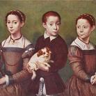 Sofonisba Anguissola (Cremona, 1532 - Palermo, 1625), Tre bambini con cane, 1570-1590 circa, Olio su pannello, 74 x 95 cm, Collection Lord Methuen, Corsham Court, Wiltshire