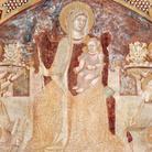 Ambrogio Lorenzetti, Maria Regina in trono con angeli, santi, la Misericordia, la Carità ed Eva, 1334-1336, Affresco strappato e applicato su supporto di poliestere e fibra di vetro, 441 x 301 cm, Chiusdino (Siena), Chiesa di San Galgano a Montesiepi, Cappella