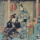 Yoshu Chinkanobu (1838 - 1912), Scena di teatro Kabuki, Xilografia policroma in formato oban, 70 x 35 cm, Firmata Il pennello di Yoshu Chikanobu