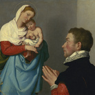 Giovanni Battista Moroni, Gentiluomo in adorazione di fronte alla Madonna col Bambino, 1555 circa, Olio su tela, 65 x 60 cm, National Gallery of Art, Washington, Samuel H. Kress Collection | Fhoto: Courtesy of National Gallery of Art, Washington
