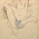 Mario Mafai, Nudo sdraiato, 1935, Tecnica mista su carta, 21 x 28 cm, Collezione privata