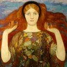 Giuseppe Carosi, Angelo dei crisantemi (L'Angelo del dolore), 1921, Olio su tavola, Roma, Galleria d'Arte Moderna | Courtesy of Galleria d'Arte Moderna, Roma