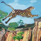 Antonio Ligabue. Leopardo su roccia