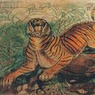Antonio Ligabue, Tigre reale, 1941, China e pastelli a cera su carta intestata dell'Ospedale Psichiatrico San Lazzaro di Reggio Emilia, 36 x 50 cm