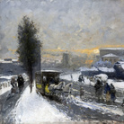 Mosè Bianchi, Neve a Milano, 1895. Olio su tavola, 48,5 x 73,5 cm