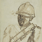 Mario Sironi, Soldato con elmo, 1938 circa. Tempera e matita su carta, cm 28,6 x 22,8.