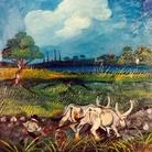 Antonio Ligabue, Aratura con buoi, 1950-55, olio su faesite, 46 x 44 cm.