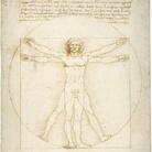 Leonardo da Vinci, Le proporzioni del corpo umano secondo Vitruvio (Uomo vitruviano), 1490 circa. Punta metallica, penna e inchiostro, tocchi di acquerello su carta bianca, 344 ✕ 245 mm. Venezia, Gallerie dell'Accademia, Gabinetto dei Disegni e Stampe