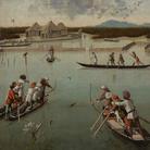 Vittore Carpaccio, Caccia in laguna (recto), 1490-1495 circa, Stipo delle lettere (verso), 1490-1495 circa, Olio su tavola, 75.6 x 63.8 cm, Los Angeles, The Jean Paul Getty Museum