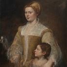 Tiziano Vecellio (1488 - 1576), Ritratto di dama con la figlia, 1550 circa, Olio su tela, 80.70 x 88.30 cm, Collezione privata