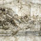 Leonardo da Vinci, Scenario architettonico e rissa dicavalieri (studio prospettico per l'Adorazione dei Magi), 1481 circa. Penna e inchiostro ferrogallico, pennello e inchiostro ferrogallico diluito, tracce di punta metallica, lumeggiature a biacca (carbonato basico di piombo) parzialmente ossidata, stilo e compasso su carta preparata color bruno chiaro, 164 ✕ 290 mm. Firenze, Gabinetto Disegni e Stampe degli Uffizi