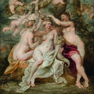 Peter Paul Rubens, Le ninfe incoronano la Dea dell'Abbondanza, 1622 circa, Olio su tavola, 34.5 x 48.5 cm