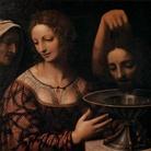 Bernardino Luini, Salomè con una serva e il boia che presenta la testa del Battista, 1525 circa, Olio su tavola, 58 x 51 cm, Firenze, Galleria degli Uffizi