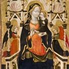 Pittore del Girfalco (Lorenzo di Ugolino?), attivo nel secondo e terzo quarto del XV secolo, Madonna col Bambino in trono e due angeli adoranti, 1445-50 circa ,Tempera e oro su tavola, Fermo, Pinacoteca civica dalla Chiesa di San Domenico