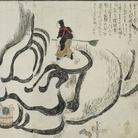 Katsushika Hokusai, Dettagli della performance di Hokusai mentre dipinge un enorme ritratto del Bodhidharma (高力猿猴庵『北斎大画即書細図』名古屋市博物館) | Courtesy of Nagoya City Museum