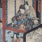 Utagawa Toyokuni III alias Kunisada (1786 - 1865), Scene di teatro Kabuki, Xilografia policroma in formato oban, 240 x 322 mm, Firmata Kochoro Toyokuni dipinse