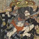 Utagawa Kuniyoshi, Rōri Hakuchō Chōjun (Rōri Hakuchō Chōjun), Serie: Uno dei 108 eroi del popolare Suikoden (Tsūzoku Suikoden gōketsu hyakuhachinin no hitori), Circa 1828-29, Silografia policroma (nishikie), 26.5 x 39 cm, Masao Takashima Collection
