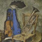 Fausto Pirandello, Natura morta con strumenti musicali, 1942 circa, Olio su tavola | Courtesy of Fondazione Magnani-Rocca 2020