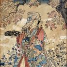 Utagawa Toyokuni III alias Kunisada (1786 - 1865), Beltà femminile con fubako, Xilografia policroma in formato oban, 238 x 352 mm, Firmata Kochoro Toyokuni dipinse