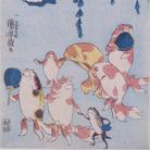 "Utagawa Kuniyoshi, Composizione di pesci rossi che cantano ""bonbon"" (Kingyo zukushi bonbon), Circa 1842, Silografia policroma (nishikie), 17. x 23.23 cm, Masao Takashima Collection"