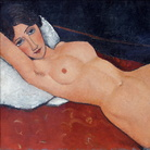 Amedeo Modigliani (Livorno,1884 - Parigi, 1920), Nudo femminile sdraiato su un cuscino bianco, 1917 circa, Olio su tela, Staatsgalerie Stuttgart | Foto: José Luiz via Wikimedia Creative Commons