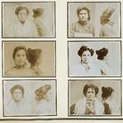 Pagina dell'album Delinquenti Napoletani con fotografie segnaletiche frontali e di profilo di prostitute ladre, donato dal criminologo Abele De Blasio a Cesare Lombroso | Fotografo non identificato, Stampe ai sali d'argento, Ante 1906