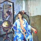 Geoffrey Humphries, Blue Kimono and Apple, 2017, Olio su tela (Particolare), 70 x 75 cm