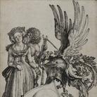 Albrecht Dürer, La donna, il Tempo e lo scudo della Morte, Incisione a bulino, 216 x 158 mm | Courtesy © Musei Civici di Bassano
