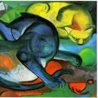 Franz Marc, Due Gatti, blu e giallo, 1912, Olio su tela, 98 x 74 cm, Basilea, Kunstmuseum | L'opera fu esposta alla mostra Entartete Kunst del 1937