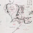 Mappa della Terra di Mezzo con note autografe di Tolkien   © Williams College Oxford Programme & The Tolkien Estate Ltd, 2018   Questa mappa generale della Terra di Mezzo è stata inclusa nei primi due volumi de Il Signore degli Anelli, una guida essenziale per i lettori che navigano attraverso l'allora sconosciuto mondo della Terra di Mezzo di Tolkien.
