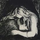 Edvard Munch, Vampire II 1895 pietra litografica, inchiostro e raschietto, stampata da Clot, Parigi 38,7 x 56 cm Ars Longa, collezione Vita Brevis © The Munch Museum / The Munch-Ellingsen Group by SIAE 2013