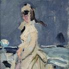 Claude Monet (1840 - 1926), Camille sulla spiaggia, 1870 Olio su tela, 30 x 15 cm, Parigi, Musée Marmottan Monet, lascito Michel Monet, 1966 Inv. 5038 | © Musée Marmottan Monet, Académie des Beaux-Arts, Paris