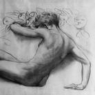 AmedeoBocchi, Nudo femminile sdraiato di schiena con fiori 1930 ca. Carboncino su carta Cm 79,5 x 150 Collezione Fondazione Monteparma