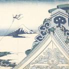 Katsushika Hokusai, Il santuario Honganji di Asakusa a Edo, Dalla serie Trentasei vedute del monte Fuji, 1830-1832 circa, Silografia policroma, 24.7 x 36.5 cm, Honolulu Museum of Art | Courtesy of Palazzo Reale, Milano 2016