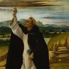 Sandro Botticelli (Firenze, 1445 - 1510), San Domenico benedicente, 1498-1505, Olio e tempera su tela (trasferito dalla tavola), 44.5 x 26 cm, San Pietroburgo, Hermitage