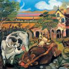 Antonio Ligabue, Fattoria con animali, 1943-1944, Olio su tavola di compensato, 30 x 40 cm