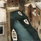 Davide Orler, Il Canale dal mio studio a Venezia, 1959-1960, Olio su tela, 60 x 60 cm, Brescia, Collezione Privata