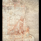 Ambrogio Lorenzetti, Annunciazione, 1334-1336, Sinopia strappata e applicata su supporto di poliestere e fibra di vetro, 238 x 441 cm, Chiusdino (Siena), Chiesa di San Galgano a Montesiepi, Cappella