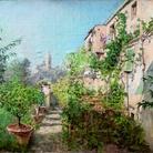 Telemaco Signorini, Giardino a Settignano, olio su tela applicata a cartone, 38x41 cm, 1885 circa. Istituto Matteucci, Viareggio