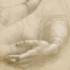 Leonardo da Vinci (Vinci, 1452 - Amboise, 1519), Braccia e mani femminili / Testa maschile in profilo, 1474-1486 circa, Punta d'argento e punta di piombo, con ritocchi successivi dei profili in matita nero-grigiastra tenera, il tutto lumeggiato con biacca a pennello e a gouache, su carta preparata leggermente in rosa color pelle, 150 x 215 mm, Castello di Windsor, Royal Library, The Royal Collection Trust, inv. RCIN 912558 (concesso in prestito da Sua Maestà la Regina Elisa